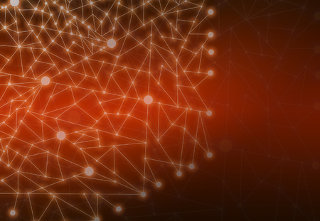 Abstract Polygonal Space Orange Background with Connecting Dots and Lines StructureNetwork - Data Visualization Illustration
