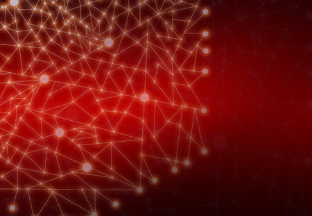 Abstract Polygonal Space Red Background with Connecting Dots and Lines StructureNetwork - Data Visualization Illustration