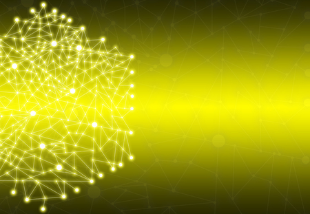 Abstract Polygonal Space Yellow Background with Connecting Dots and Lines StructureNetwork - Data Visualization Illustration Stock Photo