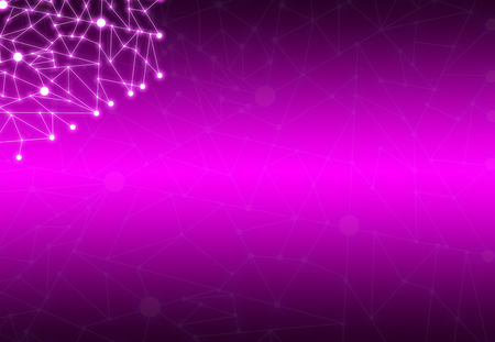 Abstract Polygonal Space Purple Background with Connecting Dots and Lines StructureNetwork - Data Visualization Illustration