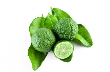Kaffir Lime or Bergamot over white background