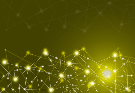 Technology Concept - Abstract connected dots on bright Yellow background.