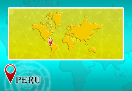Peru in world map with pointer and location stock photo picture peru in world map with pointer and location photo sciox Choice Image