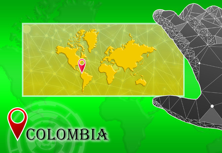 Columbia in plain World Map with polygonal hand and pointer