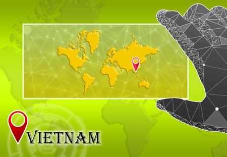 Vietnam in plain World Map with polygonal hand and pointer