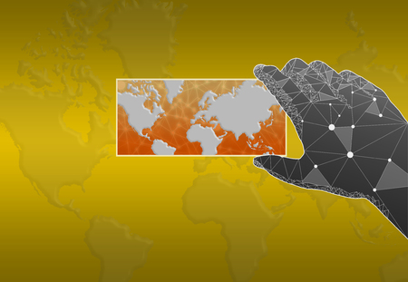 Abstract polygonal Hand holding world map over blurred map background Stock Photo
