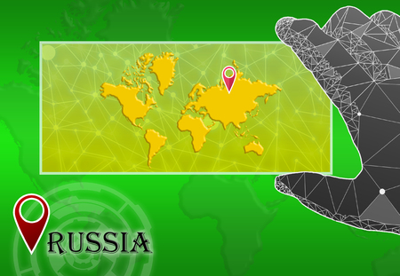 Russia in plain World Map with polygonal hand and pointer Stock Photo