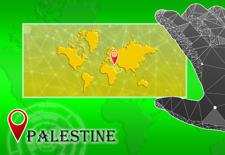 Palestine in plain World Map with polygonal hand and pointer Stock Photo
