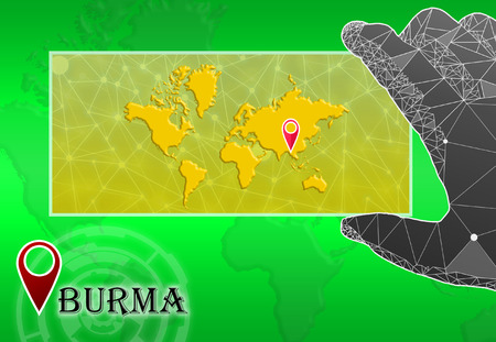 Burma in plain World Map with polygonal hand and pointer