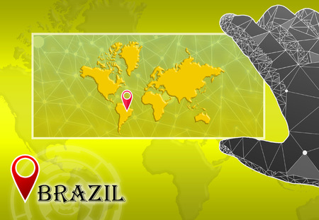 Brazil in plain World Map with polygonal hand and pointer