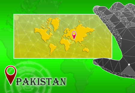 Pakistan in plain World Map with polygonal hand and pointer Stock Photo