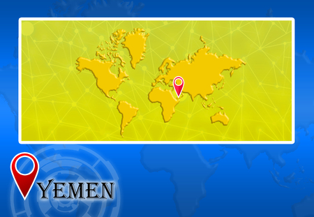 Yemen in world map with pointer and location stock photo picture yemen in world map with pointer and location photo gumiabroncs Choice Image