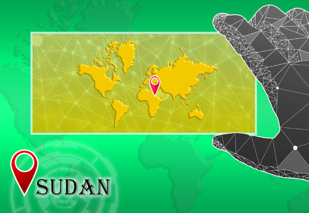 Sudan in plain World Map with polygonal hand and pointer