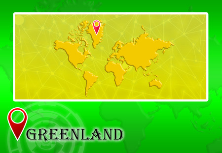 Greenland in World Map with pointer and location