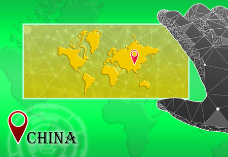 China in plain World Map with polygonal hand and pointer Stock Photo