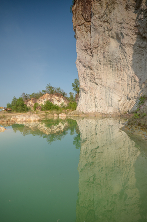 mine site: Beautiful Green Pond in Quarry Site Stock Photo