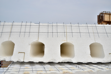 industrialised: IBS (Industrialised Building System) wall panel made by styrofoam