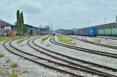 Perlis, Malaysia - September 18, 2016: cargo central of northern malaysia. Used to store cargo and transport it to Thailand and Singapore using train road Editorial