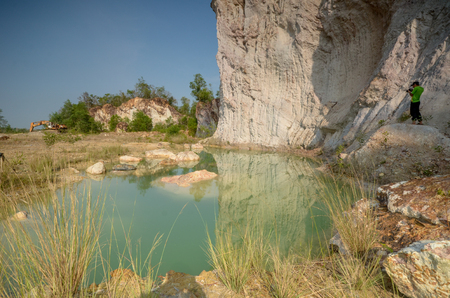 Beautiful Green Pond in Quarry Site Stock Photo