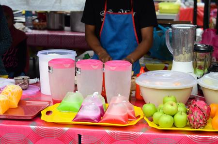 Tasty drinks sell on street stall during Ramadan in Malaysia