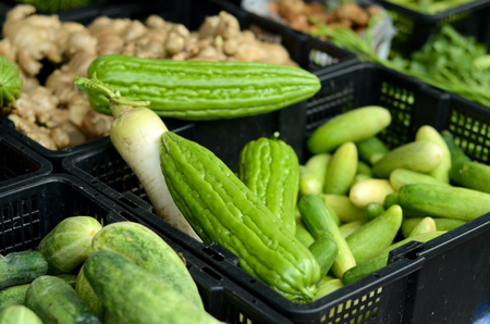 sell: Fresh vegetable found in wet market of Malaysia Stock Photo