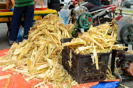 Street seller compress cane to produce cane juice