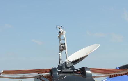 Portable satelite communication on van Stock Photo