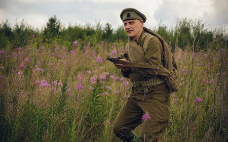 POKROVSKOE, SVERDLOVSK OBLAST, RUSSIA - JULY 17, 2016: Historical reenactment of Russian Civil war in the Urals in 1919.