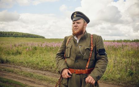 POKROVSKOE, SVERDLOVSK OBLAST, RUSSIA - JULY 17, 2016: Historiacla reenactment of Russian Civil war in the Urals in 1919.