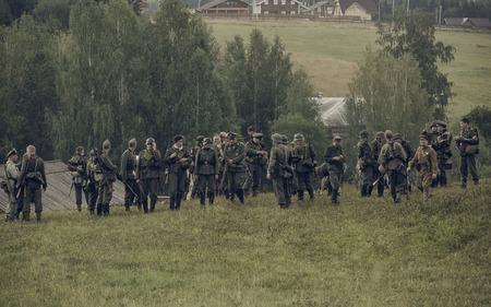 reenacting: PERM, RUSSIA - JULY 30, 2016: Historical reenactment of World War II, summer, 1942. German soldiers. Editorial