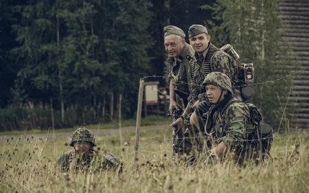 PERM, RUSSIA - JULY 30, 2016: Historical reenactment of World War II, summer, 1942. German soldiers. Editorial