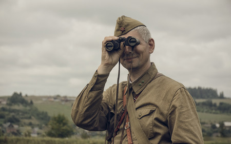 reenacting: PERM, RUSSIA - JULY 30, 2016: Historical reenactment of World War II, summer, 1942. Soviet officer