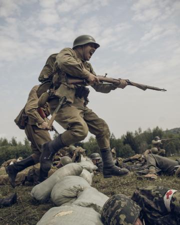 reenacting: PERM, RUSSIA - JULY 30, 2016: Historical reenactment of World War II, summer, 1942. Sovi Editorial