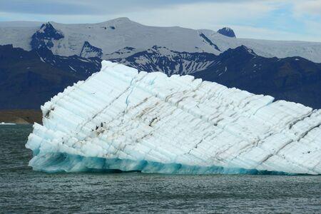 The view of floating icebergs at Jokulsarlon Glacier Lagoon near Vatnajökull National Park in Iceland Stock Photo - 138505191