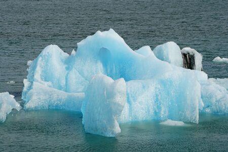 The view of floating icebergs at Jokulsarlon Glacier Lagoon near Vatnajökull National Park in Iceland