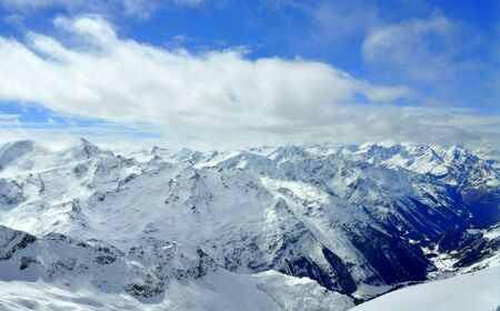 The view of the snowy mountains near Mount Titlis, Switzerland