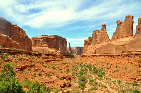 Park Avenue Hiking Trail, one of the first landmark near Arches National Park, Moab, Utah, U.S.A