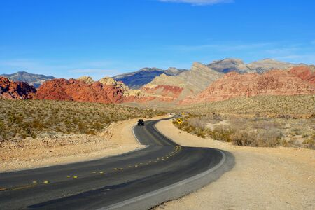 Las Vegas, Nevada, U.S.A - December 31, 2018 - The view of the curvy road near Red Rock Canyon National Conservation Area