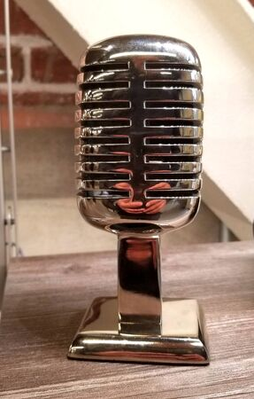 Close up of an old vintage radio microphone replica