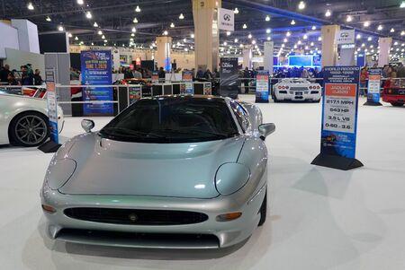 Philadelphia, Pennsylvania, U.S.A - February 9, 2020 -The silver Jaguar XJ220 supercar with 532 horsepower