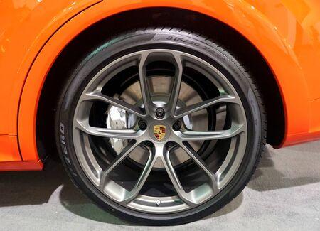 Philadelphia, Pennsylvania, U.S.A - February 9, 2020 - The alloy wheel of 2020 Porsche Cayenne Turbo Coupe Editorial