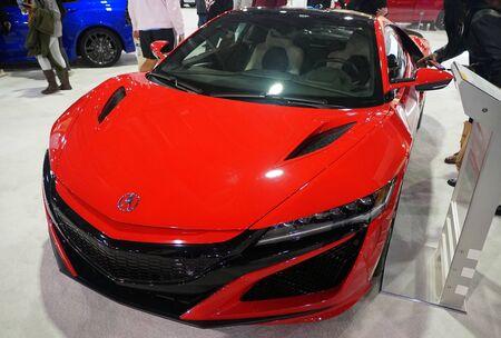 Philadelphia, Pennsylvania, U.S.A - February 9, 2020 - A red color of 2020 Acura NSX sports car
