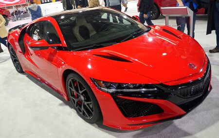 Philadelphia, Pennsylvania, U.S.A - February 9, 2020 - A red color of 2020 Acura NSX sports car Editorial