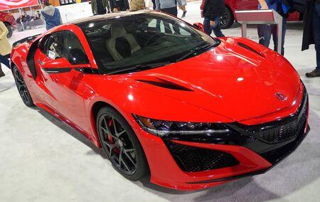 Philadelphia, Pennsylvania, U.S.A - February 9, 2020 - A red color of 2020 Acura NSX sports car Redakční