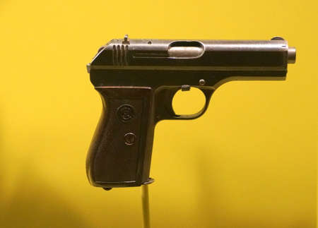 New Orleans, Louisiana, U.S.A - February 4, 2020 - The Czechoslovakia Model 27 Pistol used by German Nazi troops during World War 2