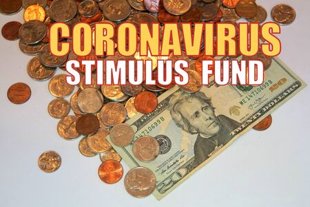 Coronavirus Stimulus Fund on American coins and dollar bill background Imagens - 143095439