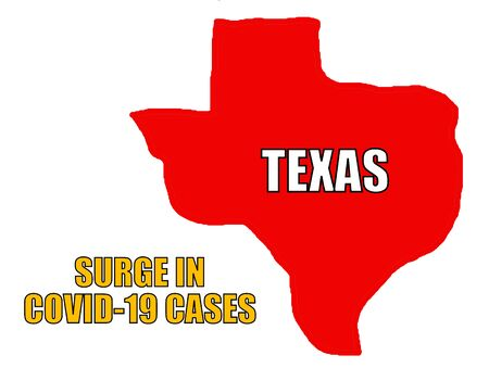 Surge in Covid-19 cases with the map of the state of Texas