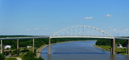 New Castle County, Delaware - June 12, 2020 - The view of St. Georges Bridge from Route 1 in the summer