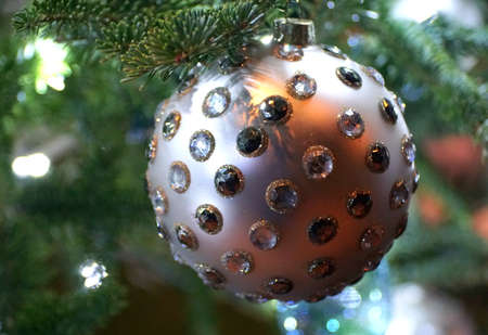 A silver embedded crystal ornament on the Christmas tree