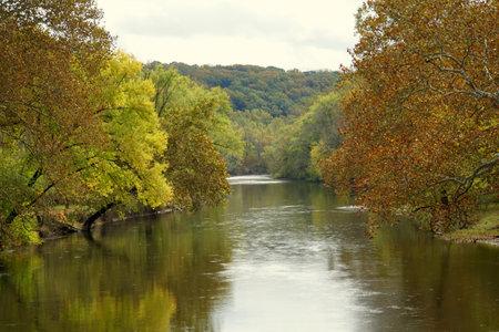 The view of beautiful fall foliage along Brandywine River near Wilmington, Delaware, U.S.A Stock fotó
